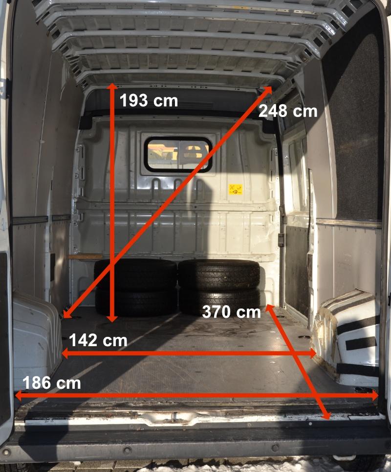 Dodávka na prenájom - rozmery vozidla
